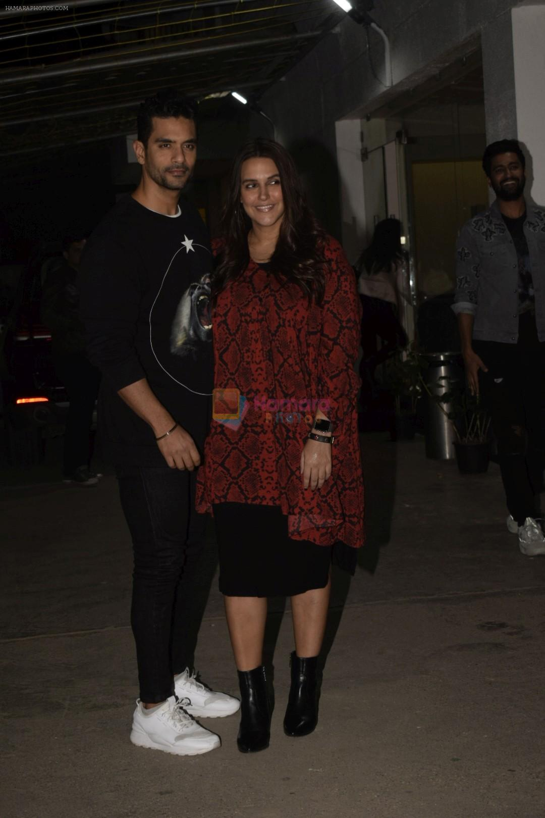 Angad Bedi, Neha Dhupia at the Screening of film Uri in sunny sound juhu on 12th Jan 2019