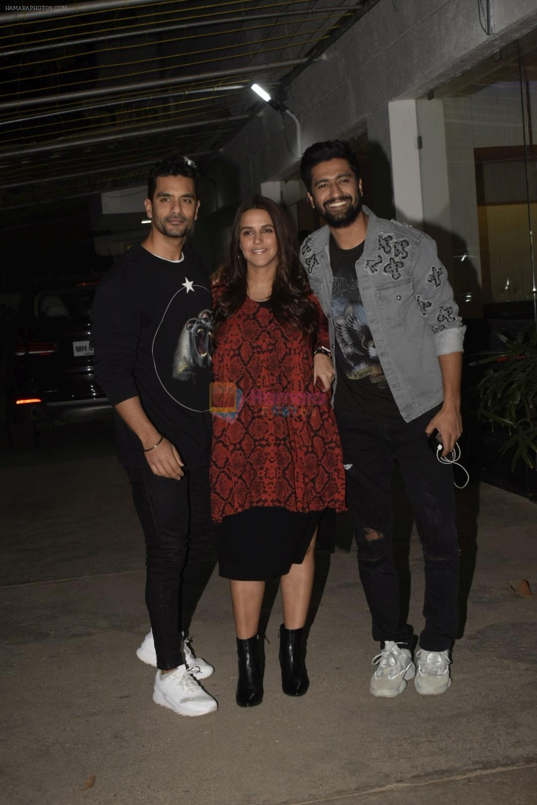 Angad Bedi, Neha Dhupia, Vicky Kaushal at the Screening of film Uri in sunny sound juhu on 12th Jan 2019