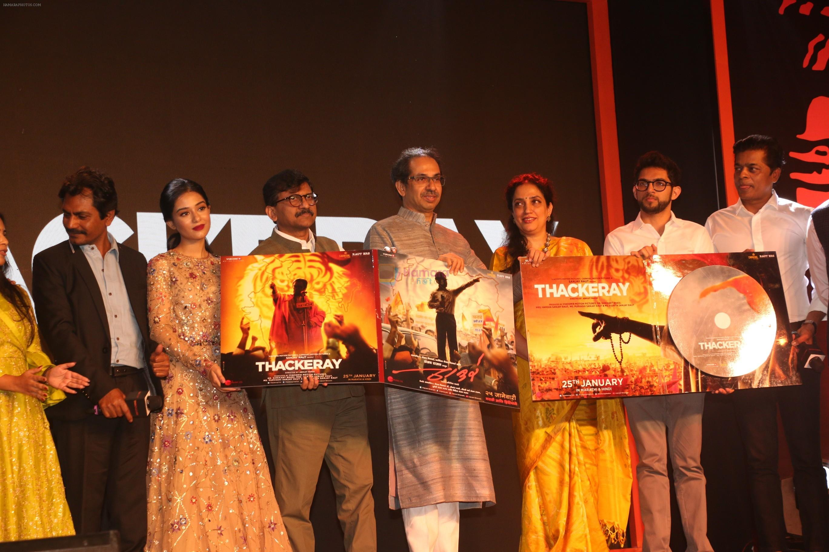 Uddhav Thackeray, Rashmi Thackeray, Amrita Rao, Nawazuddin Siddiqui, Aditya Thackeray at the Music Launch Of Film Thackeray in Taj Lands End Bandra on 13th Jan 2019