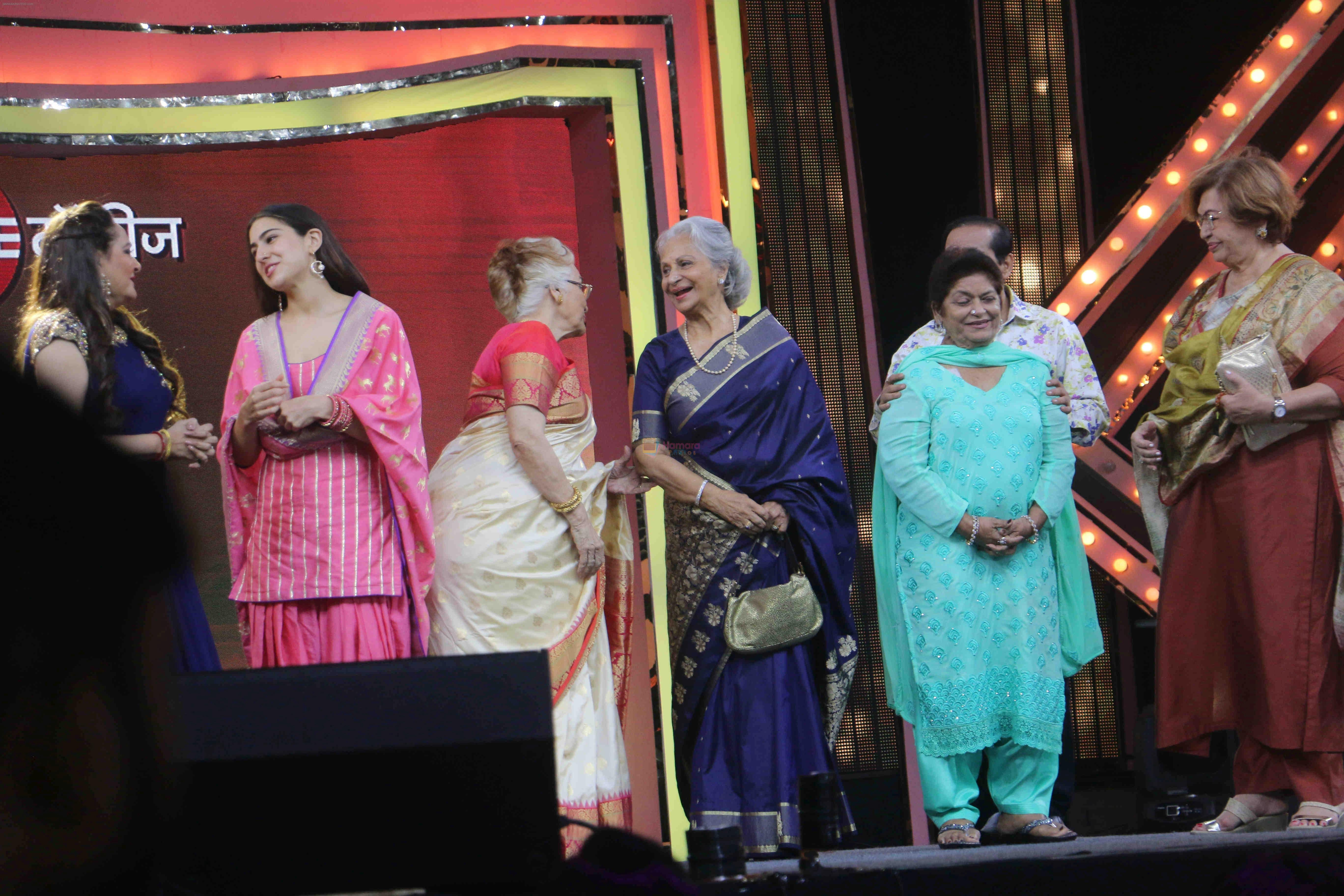 Asha Parekh, Zeenat Aman, Sara Ali Khan, Waheeda Rehman, Jaya Prada, Saroj Khan, Helen At The Red Carpet Of Marathi Tarka on 14th Jan 2019