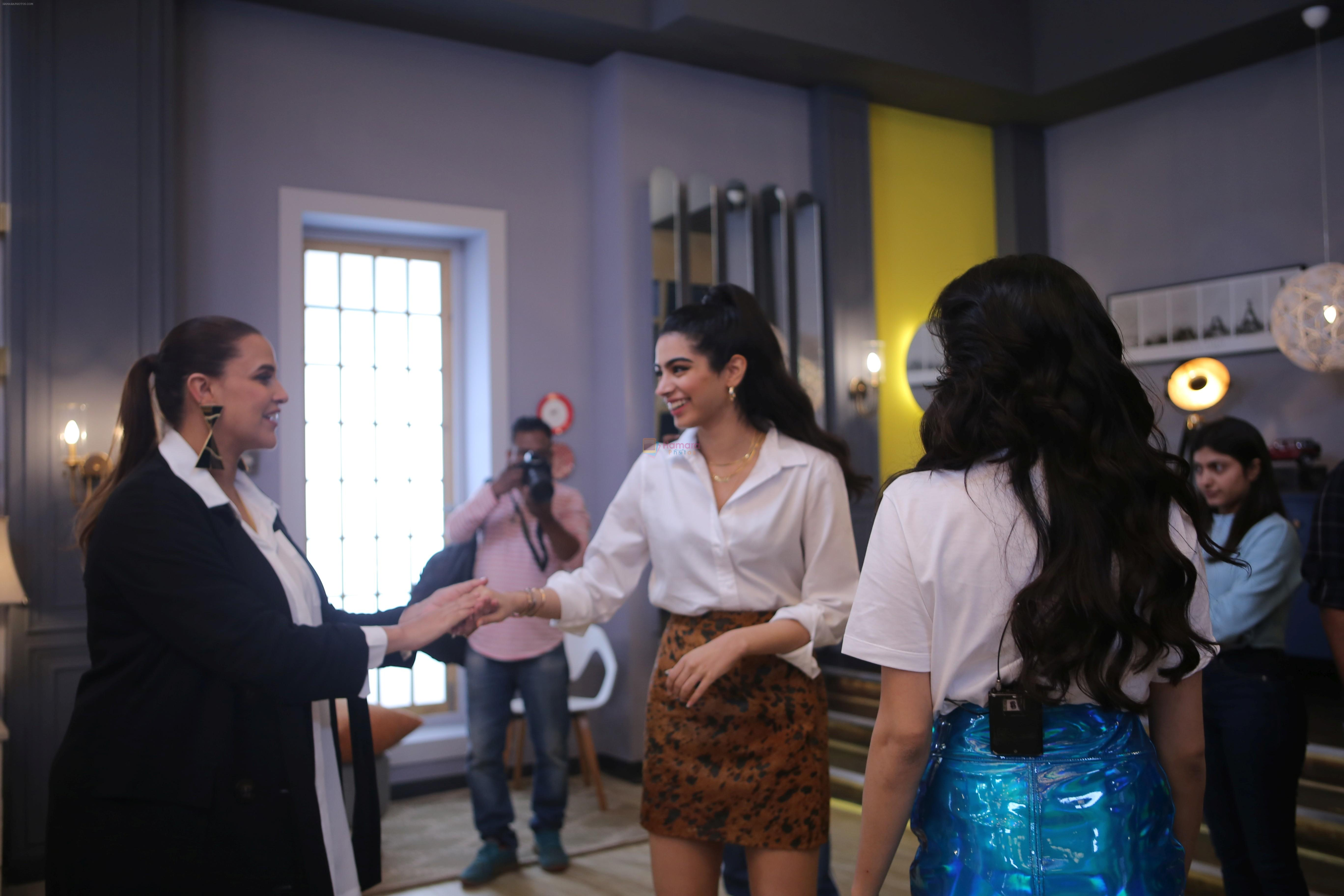 Janhvi Kapoor, Khushi Kapoor, Neha Dhupia On The Sets Of Vogue Bffs At Filmalaya Studio In Andheri on 21st Jan 2019