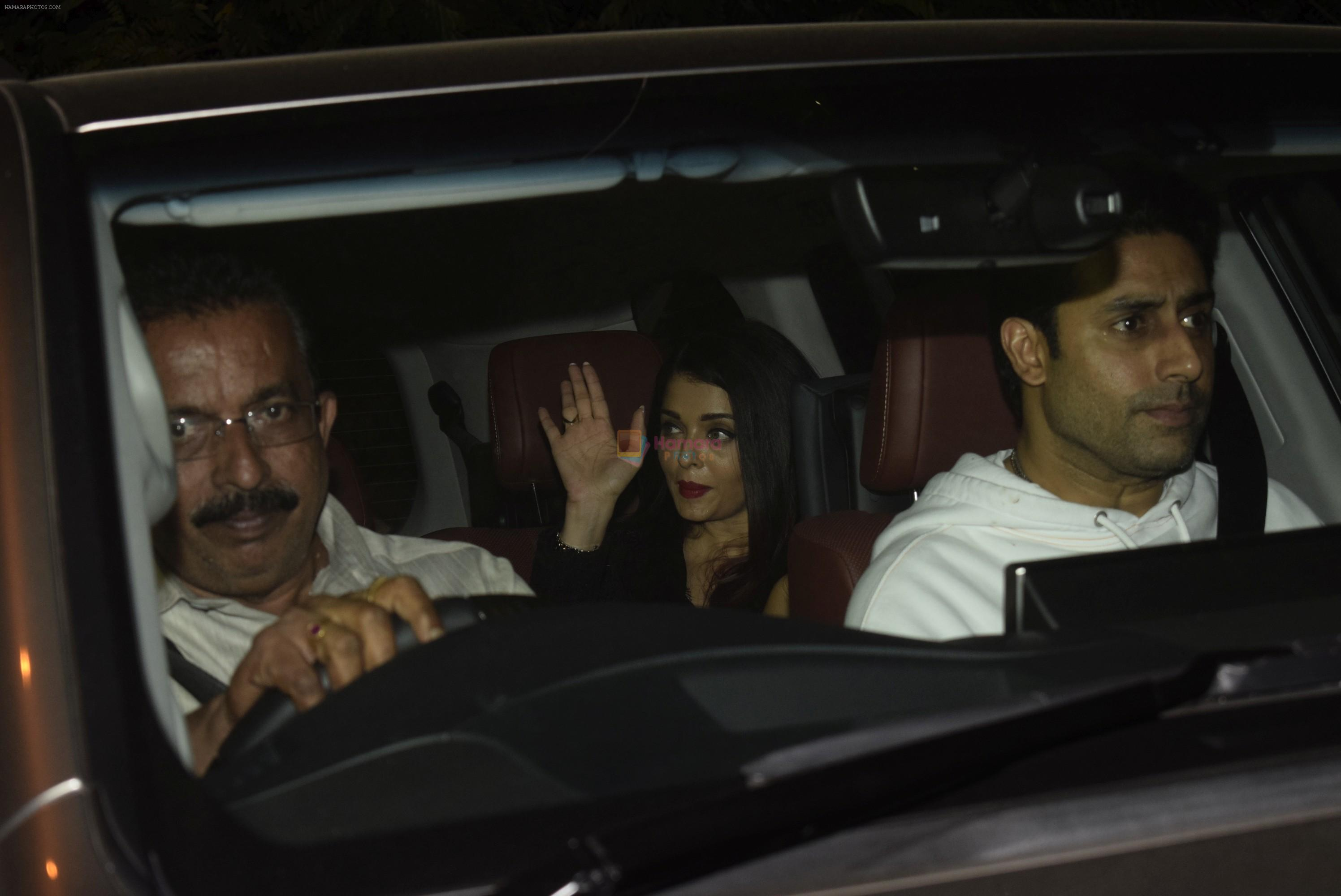 Abhishek Bachchan, Aishwarya Rai Bachchan, Aaradhya Bachchan spotted at bkc post dinner on Abhishek's birthday on 5th Feb 2019