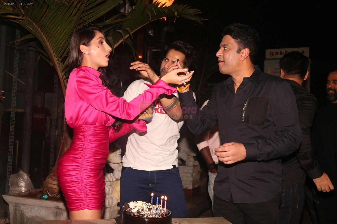 Nora Fatehi, Varun Dhawan, Bhushan Kumar at Nora Fatehi's birthday party in bandra on 5th Feb 2019