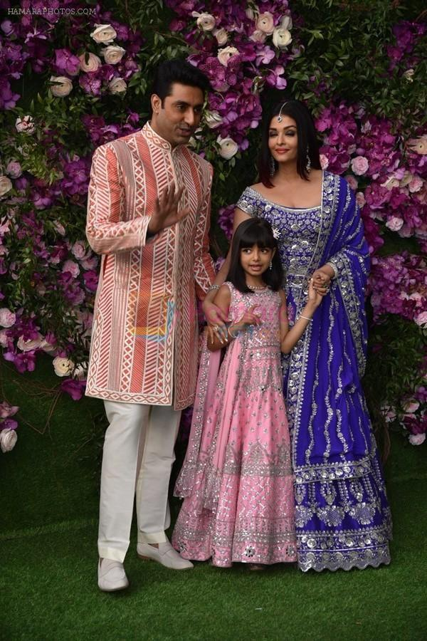 Aishwarya Rai Bachchan, Abhishek Bachchan, Aaradhya Bachchan at Akash Ambani & Shloka Mehta wedding in Jio World Centre bkc on 10th March 2019