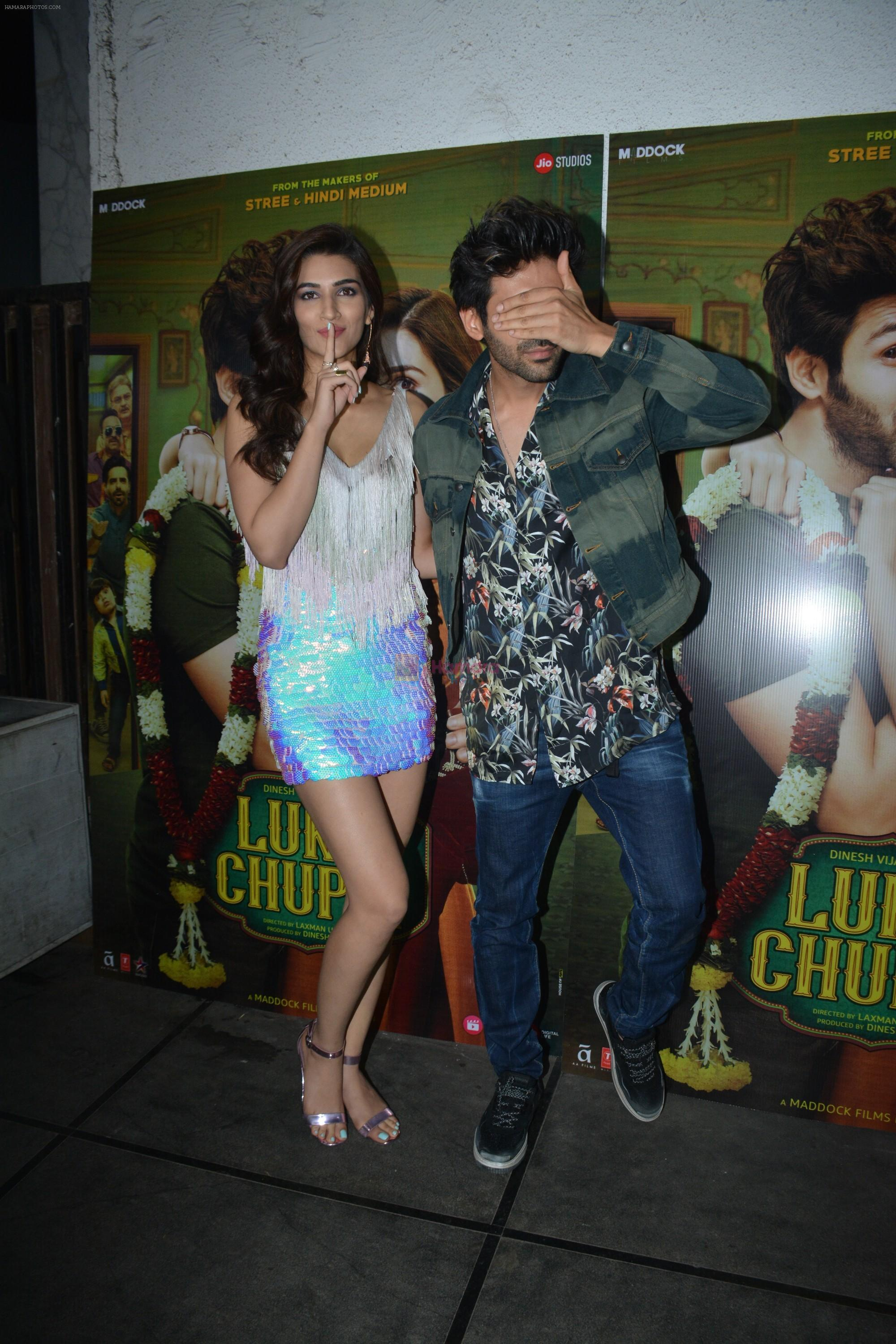 Kriti Sanon, Kartik Aaryan at Luka Chuppi success party at Arth in khar on 12th March 2019