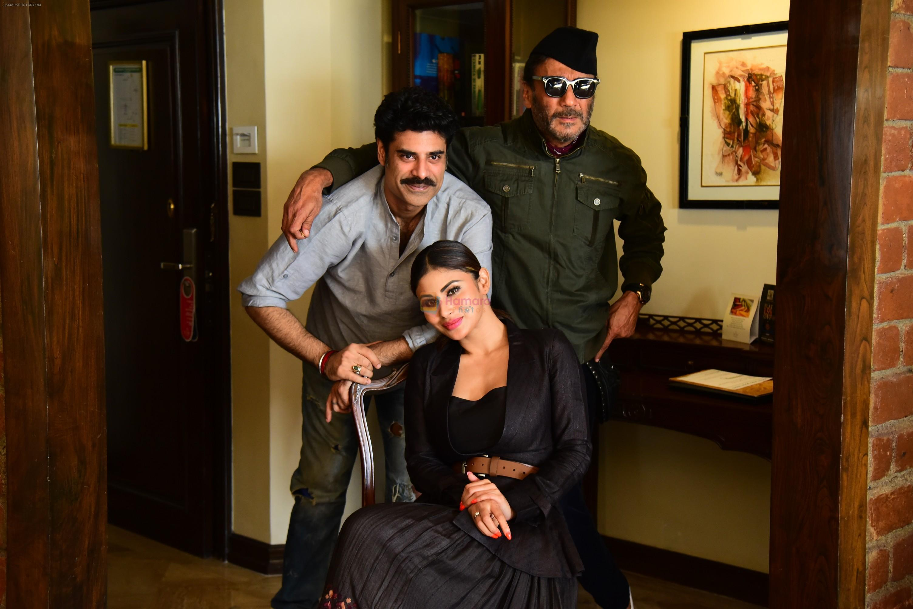 Jackie Shroff, Mouni Roy & Sikander Kher during the promotions of film Raw at Sun n Sand in juhu on 18th March 2019