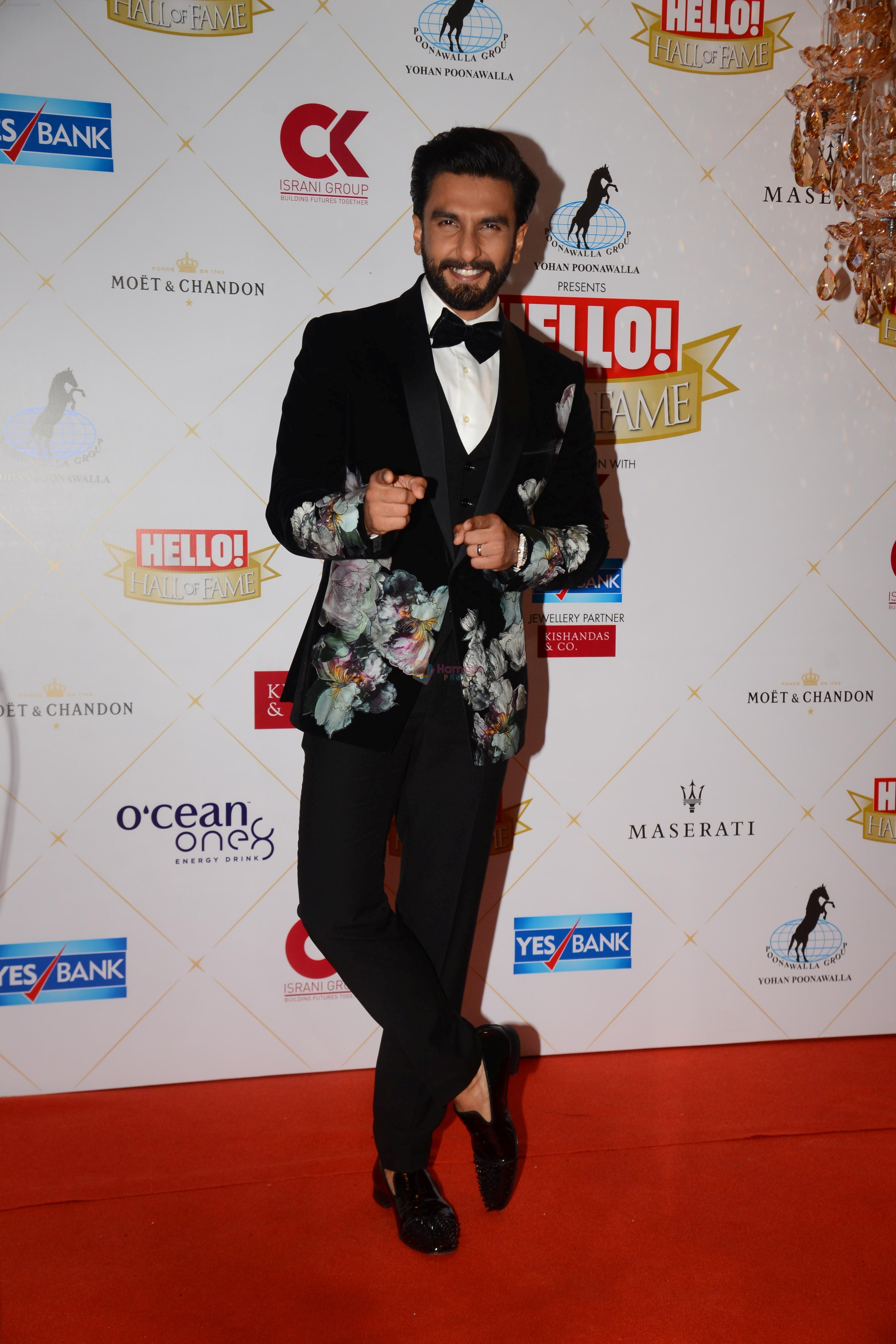 Ranveer Singh at the Hello Hall of Fame Awards in St Regis hotel on 18th March 2019