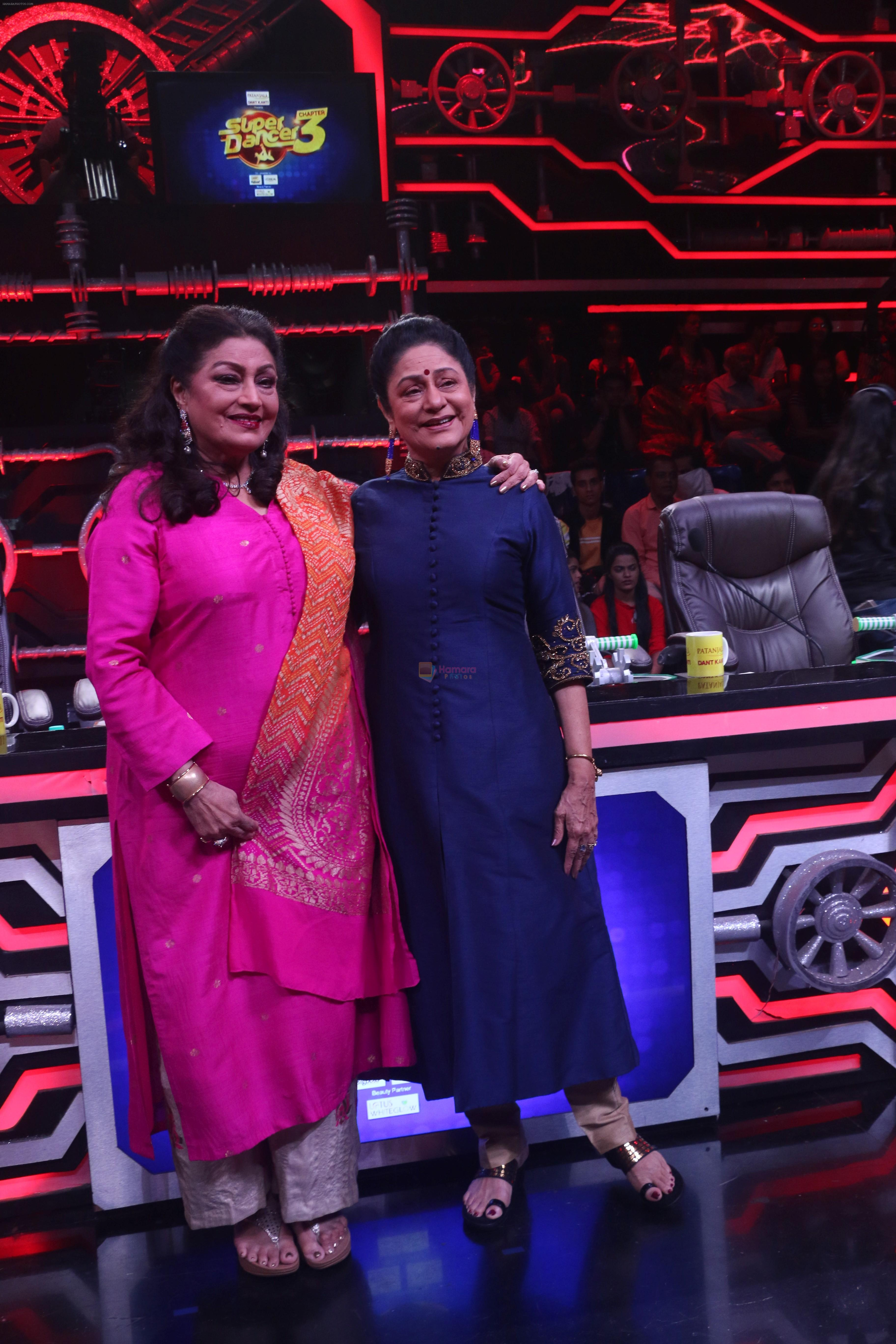 Aruna Irani, Bindu on the sets of Super Dancer Chapter 3 in filmcity on 3rd June 2019