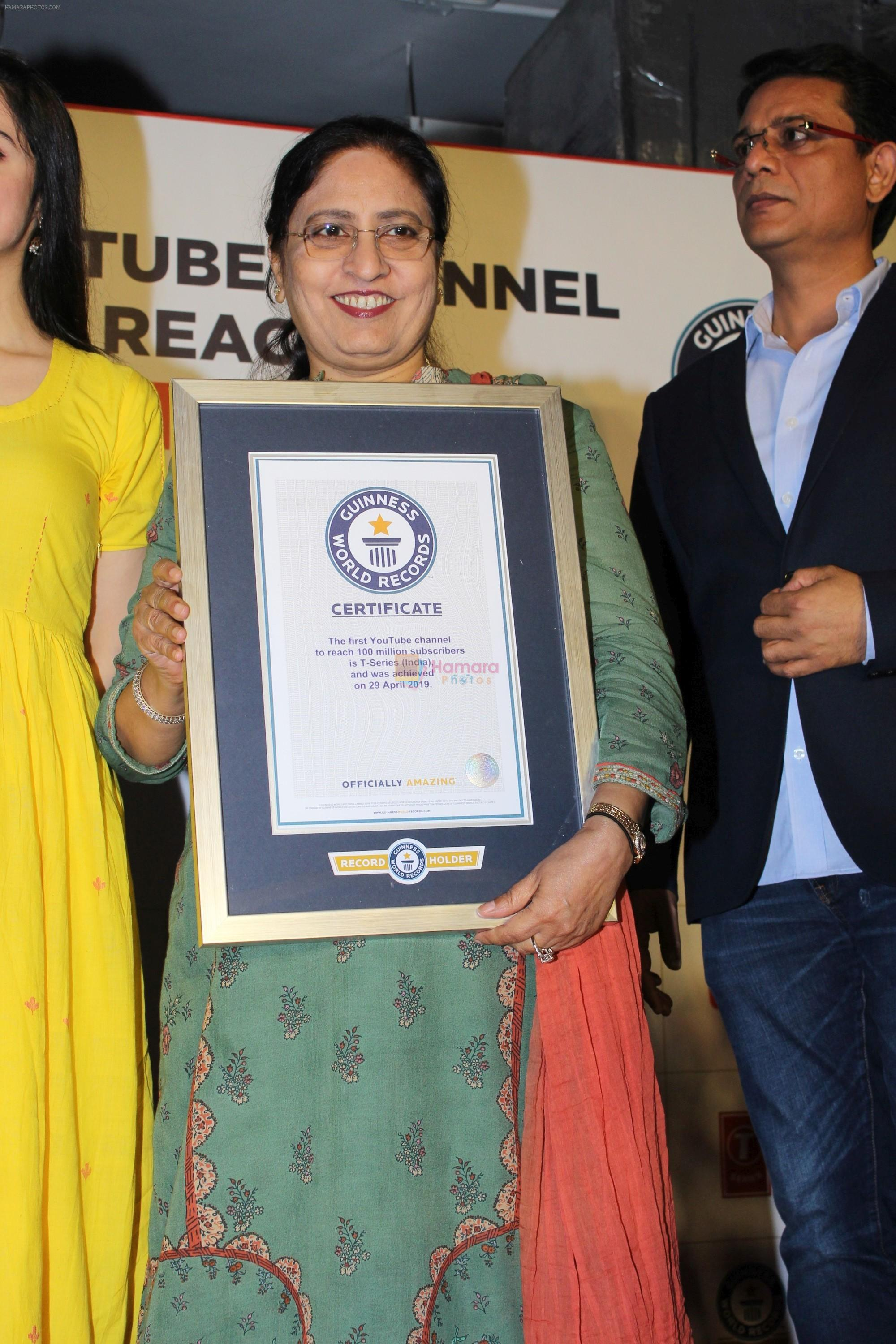 Bhushan Kumar has been felicitated with an official certificate from Guinness World Records as T-Series became the first YouTube channel to reach 100 million subscribers on 17th June 2019