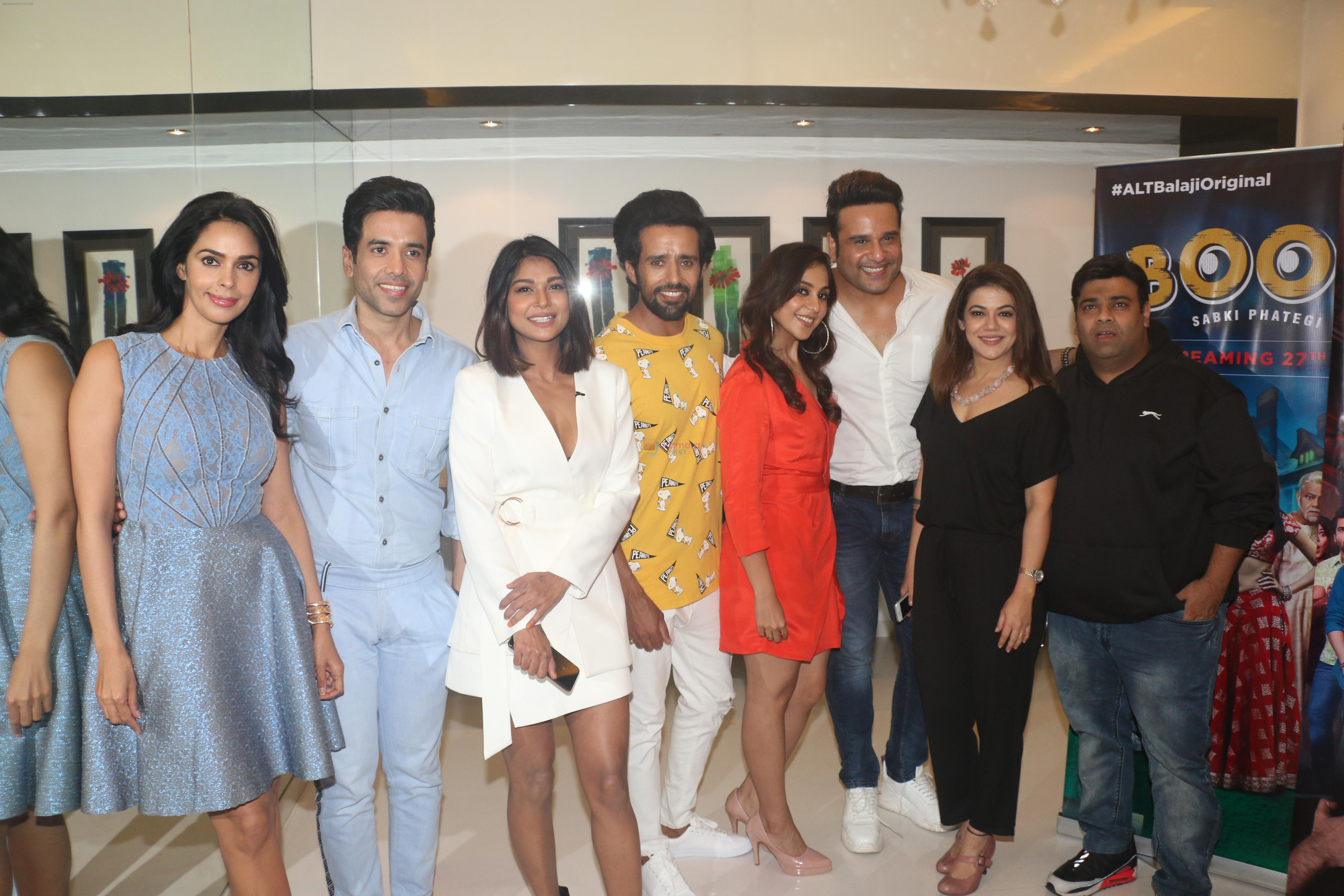 Tusshar Kapoor, Mallika Sherawat, Krishna Abhishek, Kiku Sharda at Media interactions of Alt Balaji's new web series Boo Sabki Phategi in Krishna Bunglow, juhu on 24th June 2019