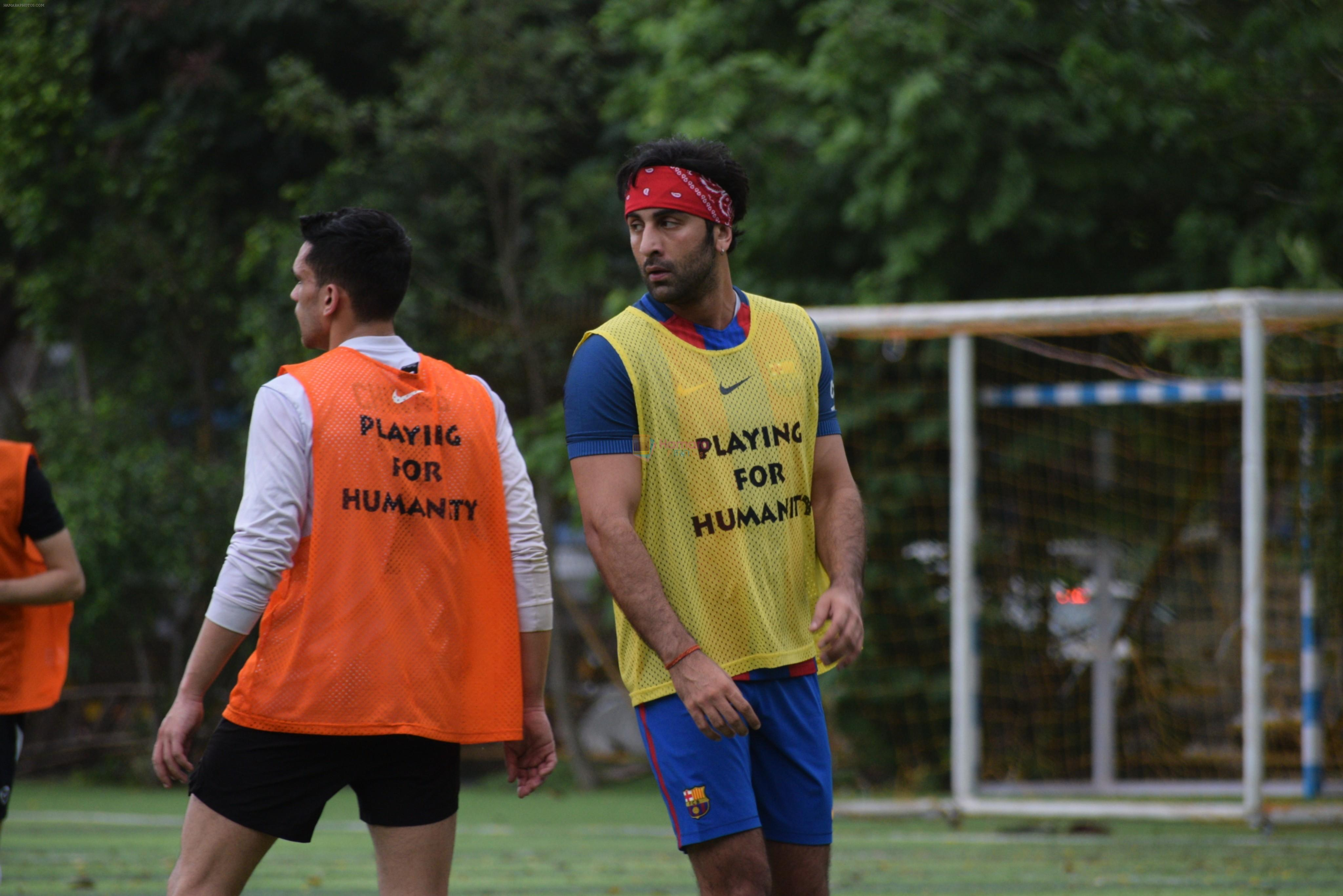 Ranbir Kapoor playing football at juhu on 7th July 2019