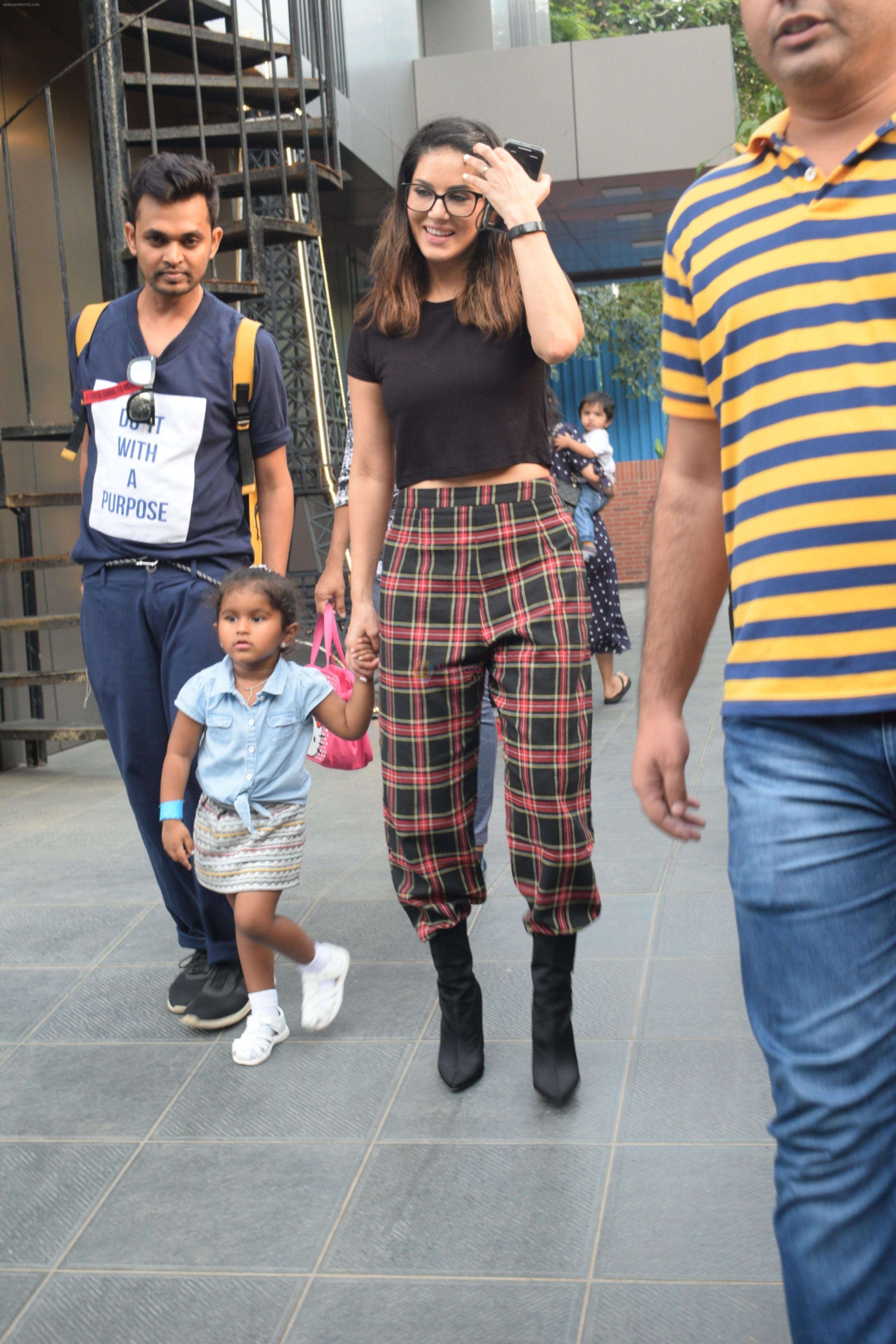 Sunny Leone with kids & husband spotted at play school in juhu on 18th July 2019