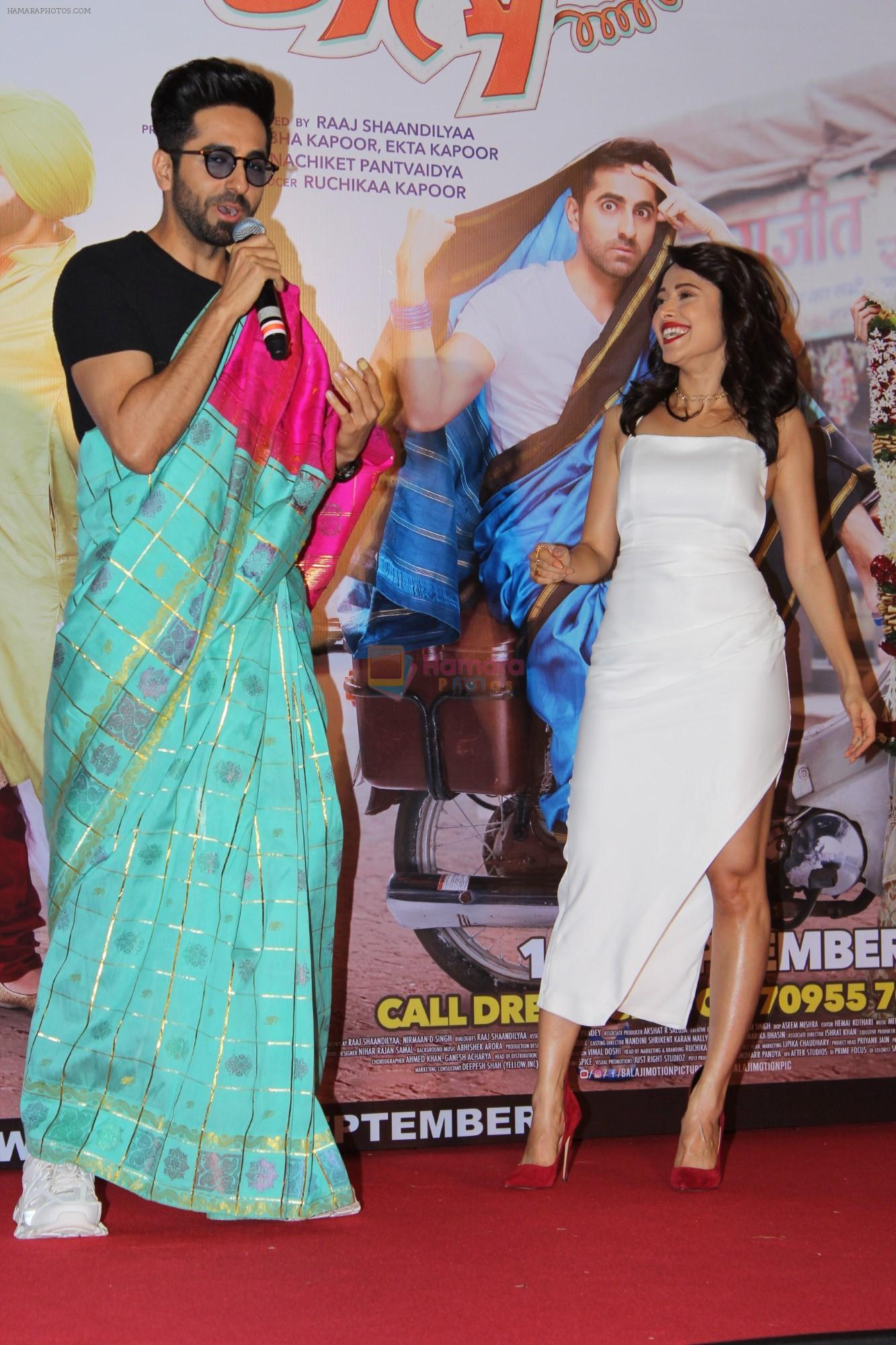 Ayushmann Khurrana, Nushrat Bharucha at the Trailer Launch Of Film Dream Girl on 12th Aug 2019