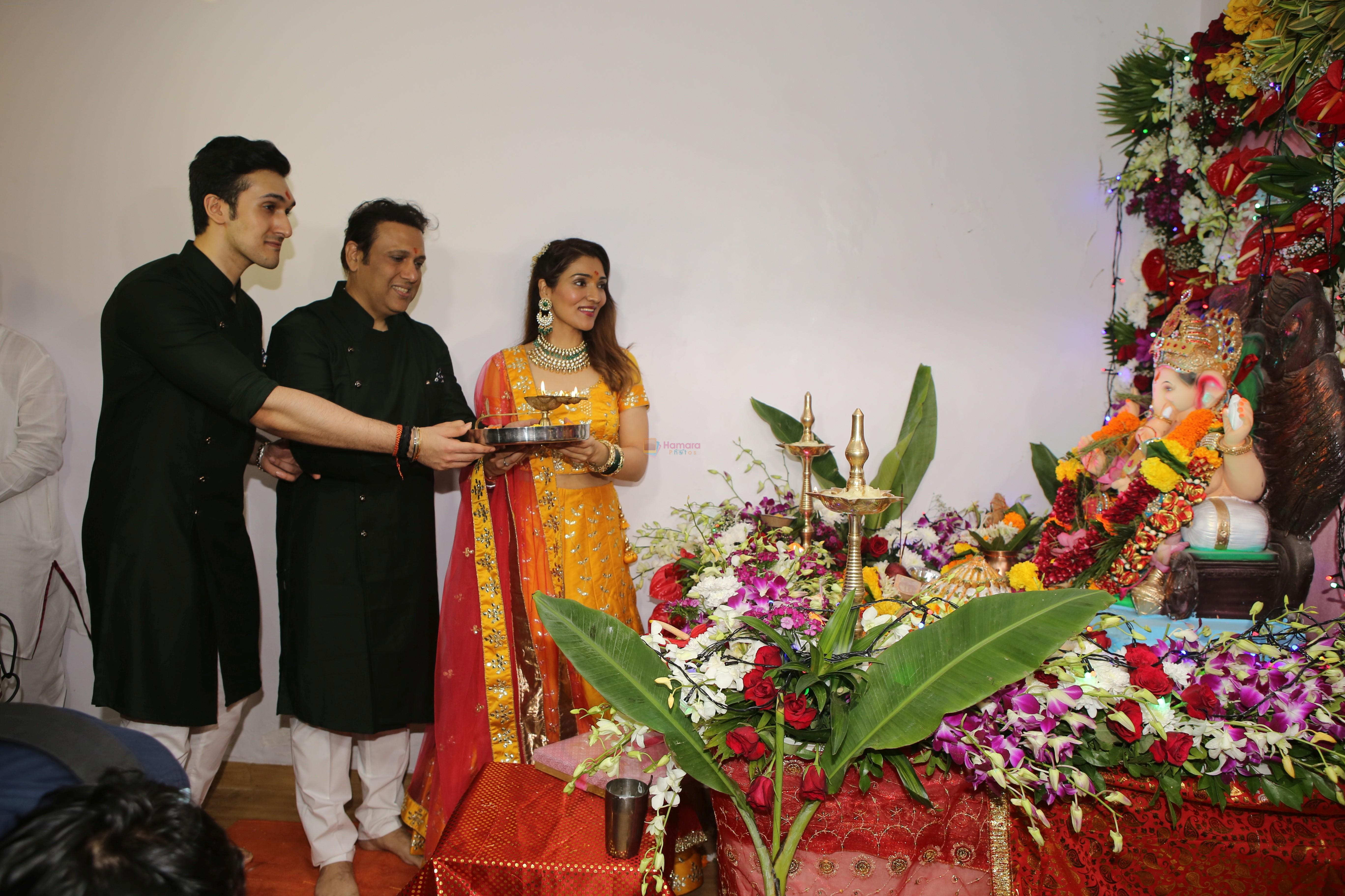 Govinda, Tina Ahuja, Yashvardan Ahuja's Ganpati celebration at his house on 2nd Sept 2019