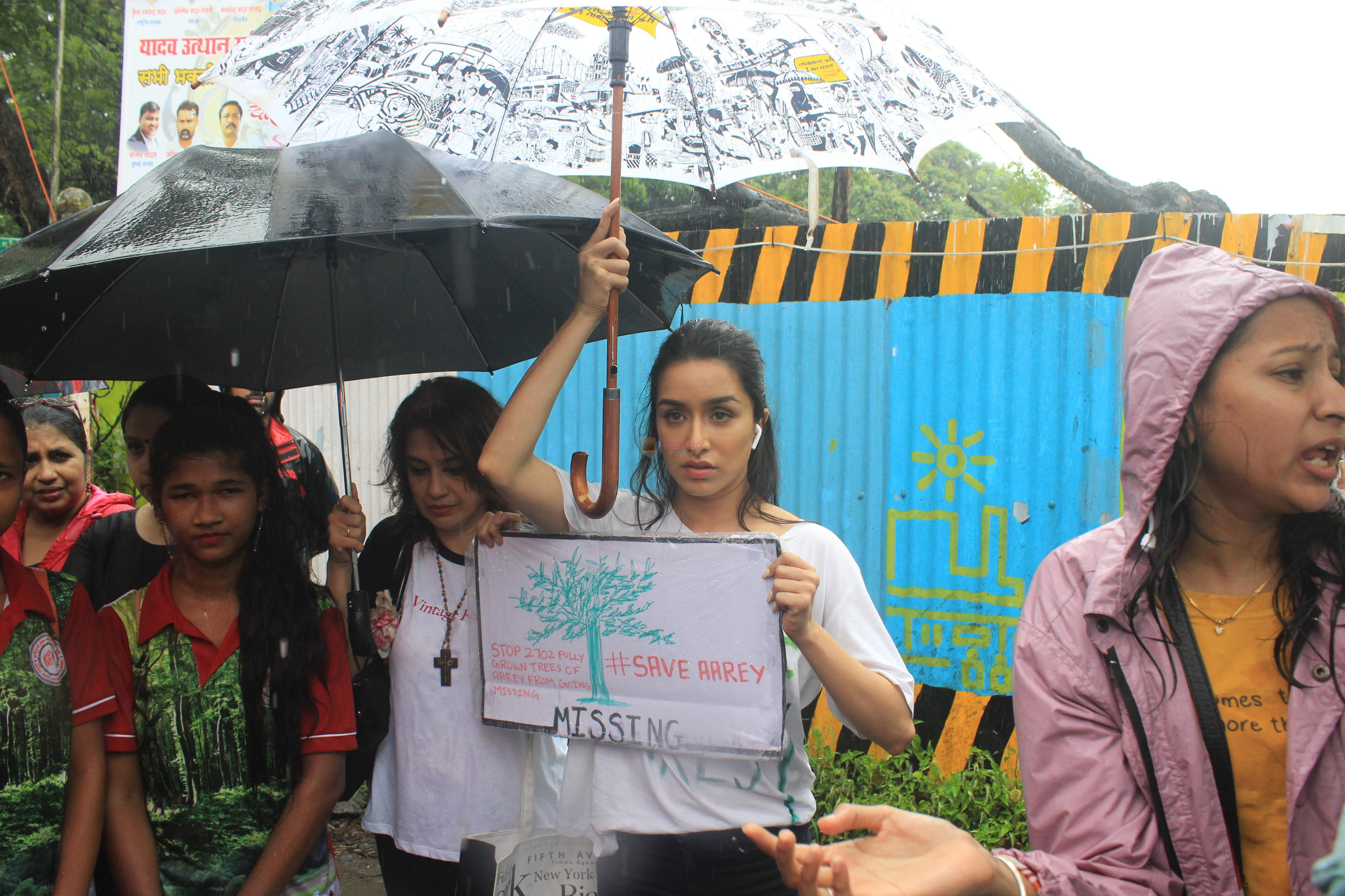 Shraddha Kapoor takes part in protest against the tree cuttings for Metro3 at Aarey in goregaon on 1st Sept 2019