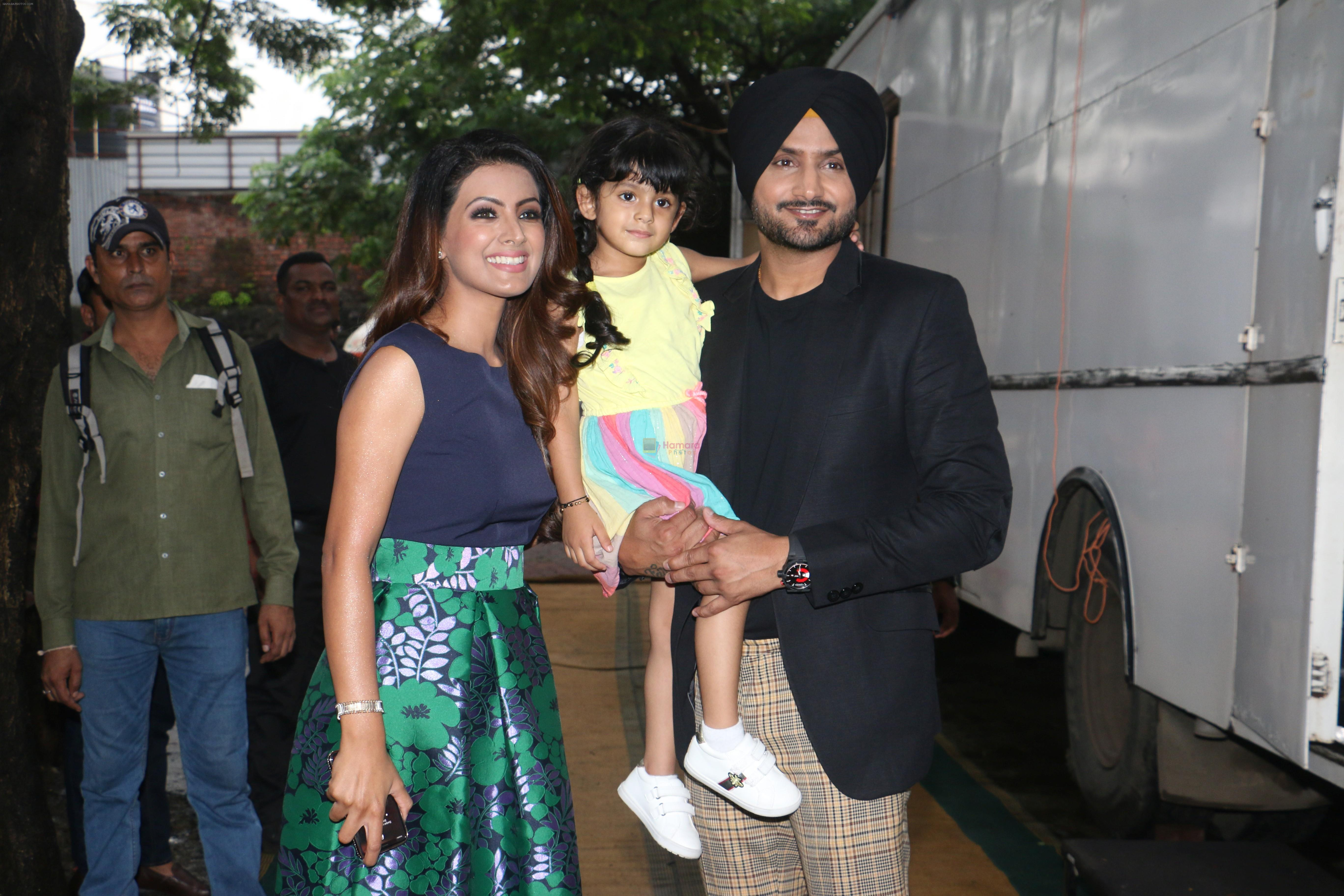 Harbhajan Singh , Geeta Basra & daughter on the sets of Lagao Boli at andheri on 1st Sept 2019