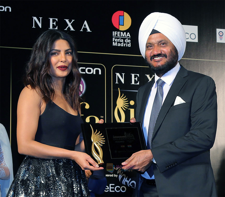 Priyanka Chopra with R S Kalsi at the IIFA 2016 Opening Press Conference in Madrid