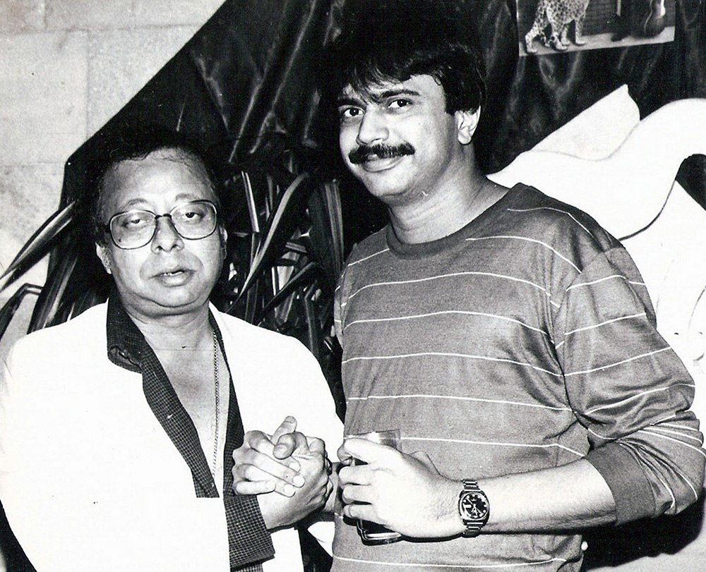R.D.Burman with Chaitanya Padukone at the fag end of the Pantera album release party in 1987