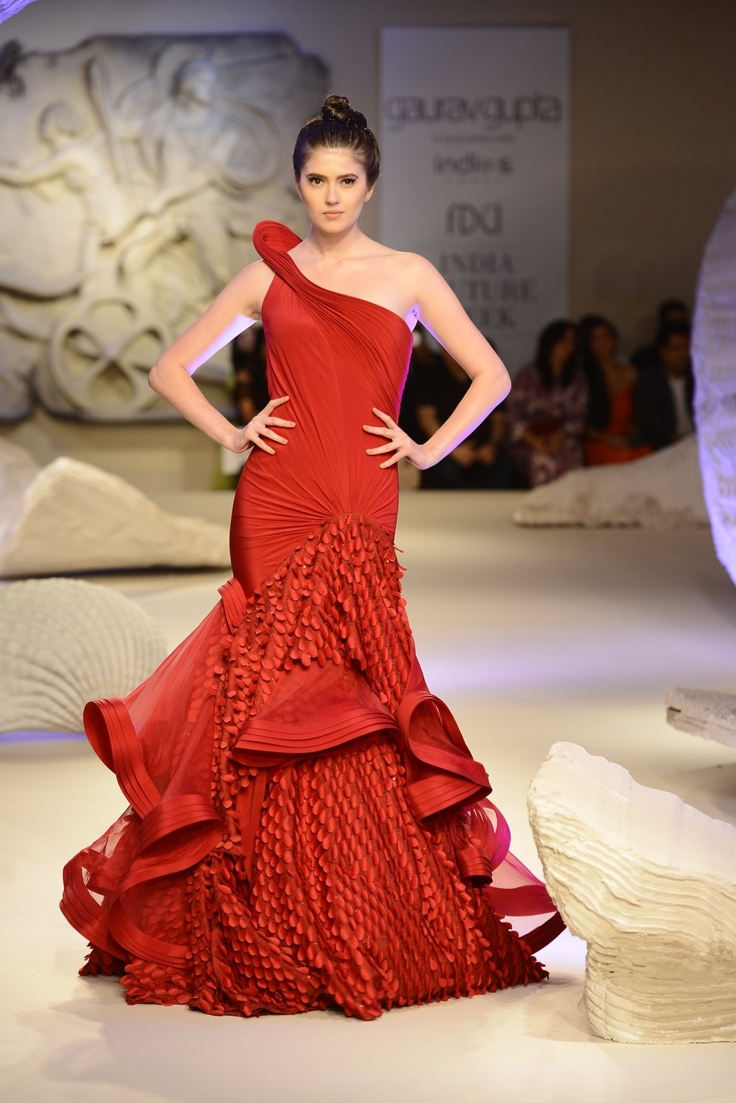 Model walks the ramp during showcase of Gaurav Gupta collection scape song at FDCI India Couture Week 2016 on 23 July 2016
