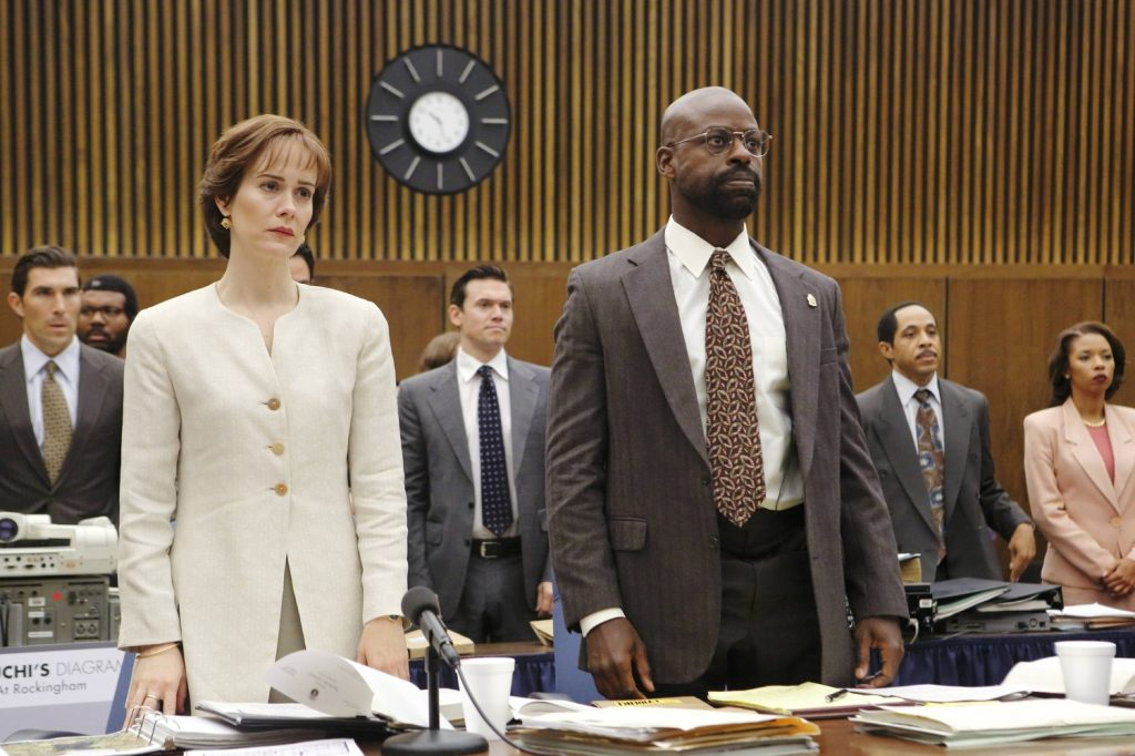 Dale Godboldo, Sarah Paulson, Sterling K. Brown, and Angel Parker in The People v. O.J. Simpson American Crime Story